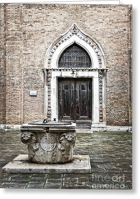Venetian Doors Greeting Cards - The well Greeting Card by Delphimages Photo Creations
