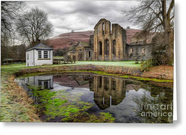 The Welsh Abbey Greeting Card by Adrian Evans