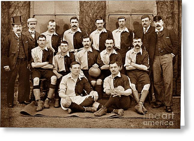 Recently Sold -  - Victorian Greeting Cards - The Welsh National Rugby team in 1895 Greeting Card by The Keasbury-Gordon Photograph Archive