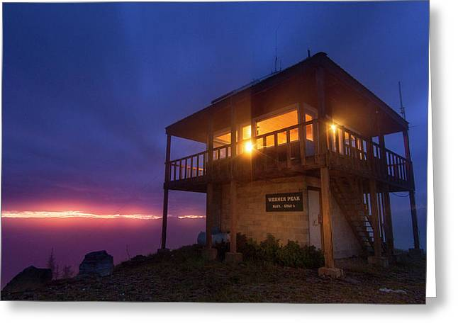 The Werner Peak Fire Lookout Tower Greeting Card by Chuck Haney