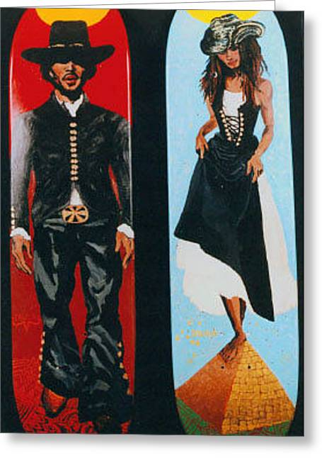 Ben Harper Greeting Cards - The Western Ben Harper Cosmic Lysa Bonet SkateBoards Greeting Card by Ana DelMar Belacqua