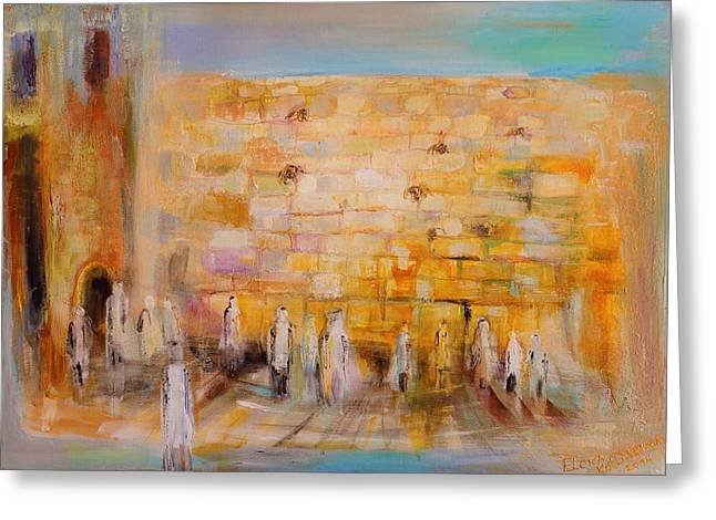 Auction Greeting Cards - The Western Wall Greeting Card by Elena Kotliarker
