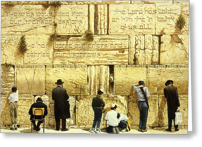 Biblical Greeting Card featuring the painting The Western Wall  Jerusalem by Graham Braddock