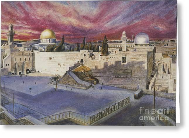 The Western Wall Greeting Card by Yael Avi-Yonah