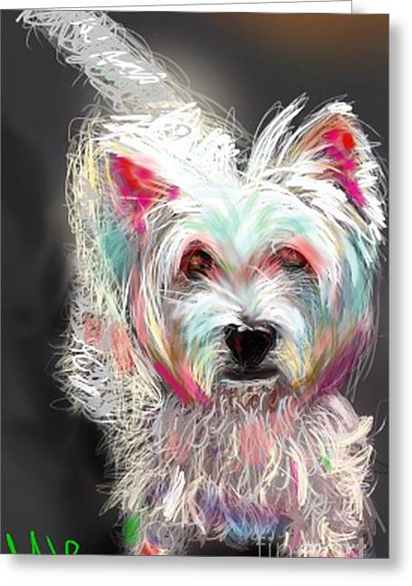 Recently Sold -  - Abstract Digital Greeting Cards - The Westie 3 Greeting Card by Audrey Hynd-Gaw