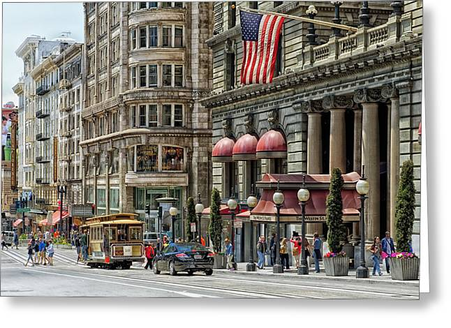 St Francis Hotel Greeting Cards - The Westin St.Francis in San Francisco Greeting Card by Mountain Dreams