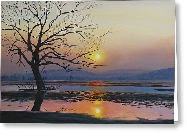 Haze Paintings Greeting Cards - The Wetlands Greeting Card by Sue Birkenshaw