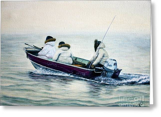 Antenna Paintings Greeting Cards - The Whale Hunters Greeting Card by Joey Nash