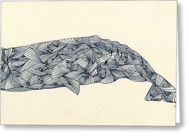 Aquatic Themed Greeting Cards - The Whale Greeting Card by Justine R Stefanie