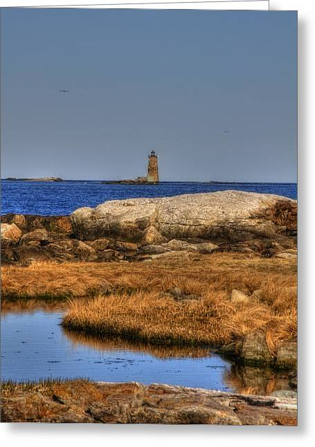 Maine Shore Greeting Cards - The Whaleback Lighthouse Greeting Card by Joann Vitali