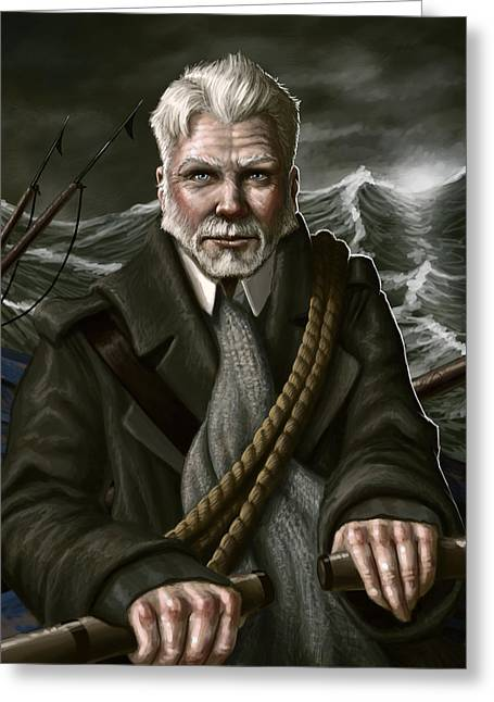 Storm Digital Art Greeting Cards - The Whaler Greeting Card by Mark Zelmer