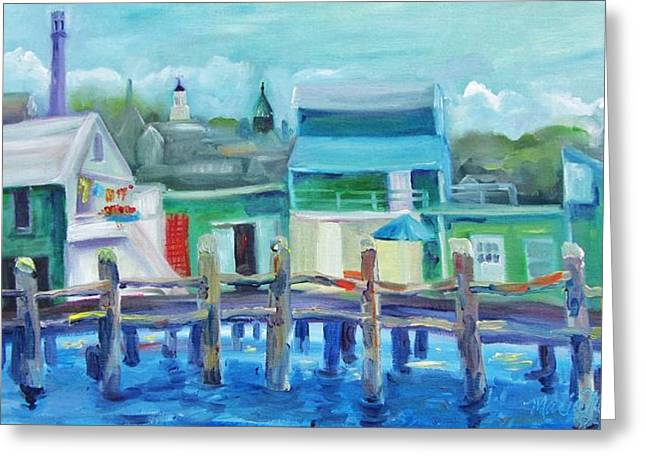 Ptown Greeting Cards - The Wharf in August Greeting Card by Maria Milazzo