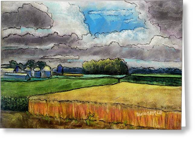 Painted Wood Pastels Greeting Cards - The Wheat Is Ready Greeting Card by Tim  Swagerle