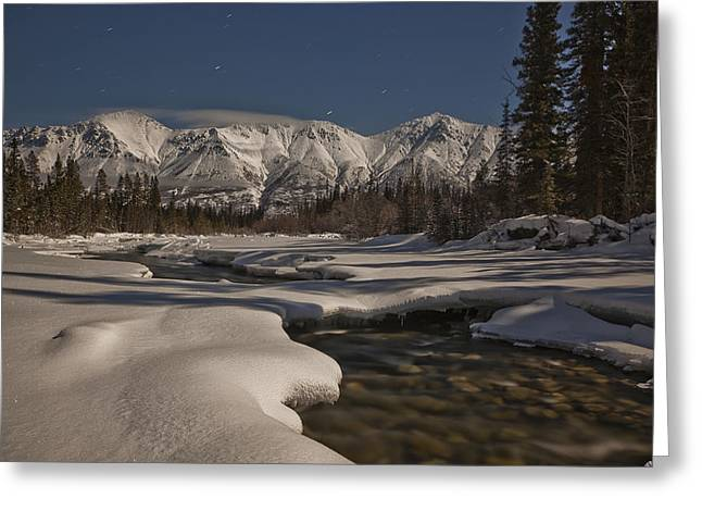 Snow-covered Landscape Greeting Cards - The Wheaton River Valley Lit By The Greeting Card by Robert Postma