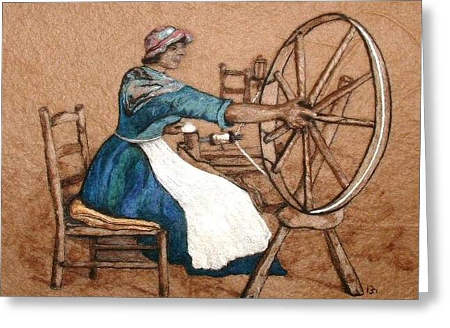 Wheels Tapestries - Textiles Greeting Cards - The Wheel Greeting Card by Bonnie Nash