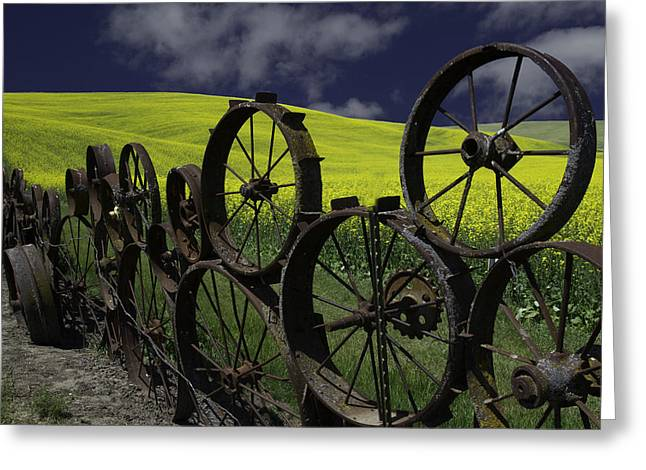 Old Barns Greeting Cards - The Wheel Fence Greeting Card by George Herbert