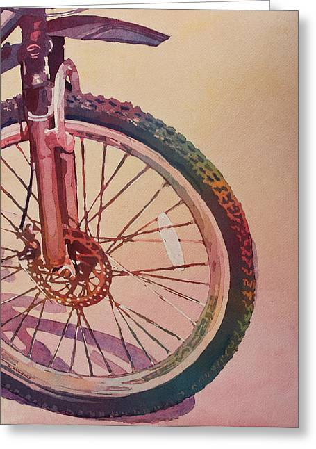 Gear Paintings Greeting Cards - The Wheel in Color Greeting Card by Jenny Armitage