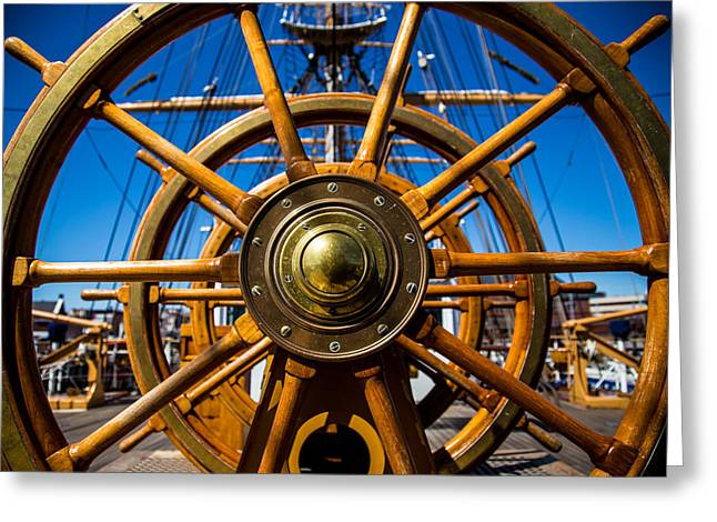 Tall Ships Greeting Cards - The Wheel Greeting Card by Karol  Livote