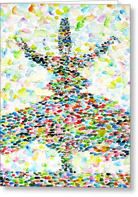 Rotate Paintings Greeting Cards - The Whirling Sufi Greeting Card by Fabrizio Cassetta