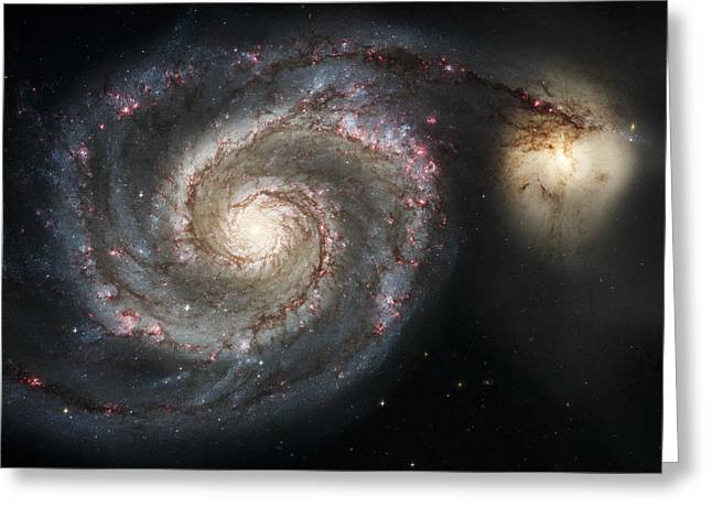 Science Greeting Cards - The Whirlpool Galaxy M51 and Companion Greeting Card by Adam Romanowicz