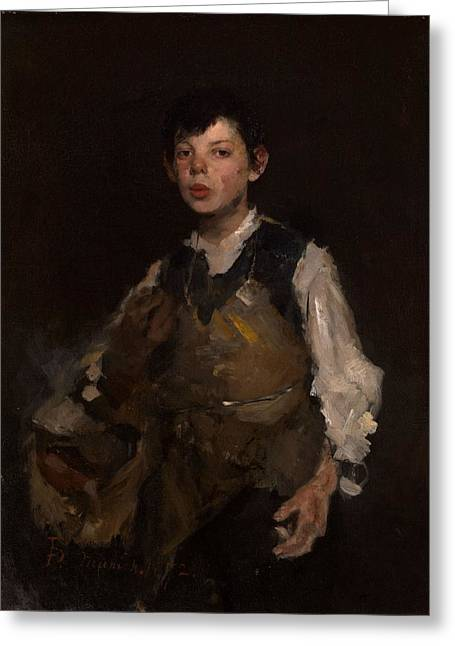 Apron Photographs Greeting Cards - The Whistling Boy, 1902 Oil On Canvas Greeting Card by Frank Duveneck