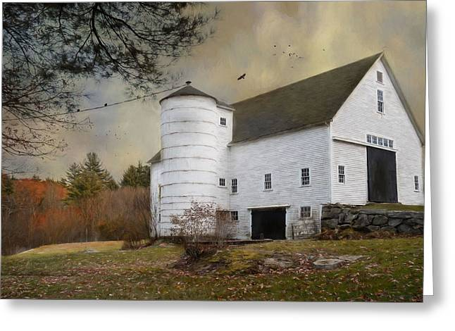 The White Barn Greeting Card by Robin-lee Vieira