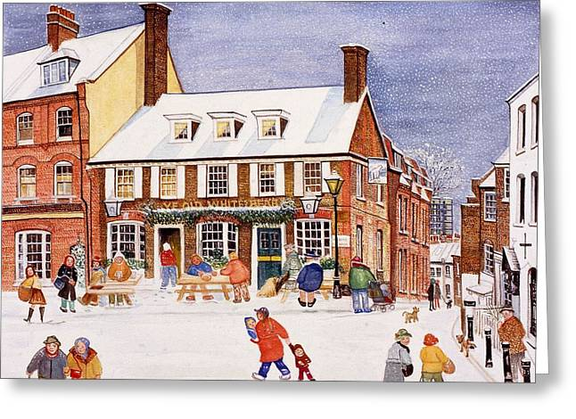 Pubs Greeting Cards - The White Bear, Hampstead, 1990 Watercolour On Paper Greeting Card by Gillian Lawson
