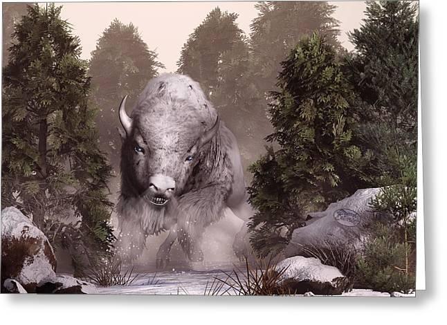 Omens Greeting Cards - The White Buffalo Greeting Card by Daniel Eskridge