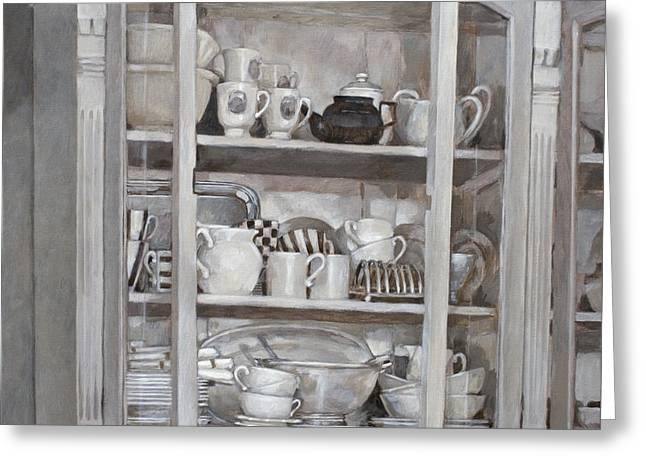 Photorealism Greeting Cards - The White Cupboard Greeting Card by Anke Classen