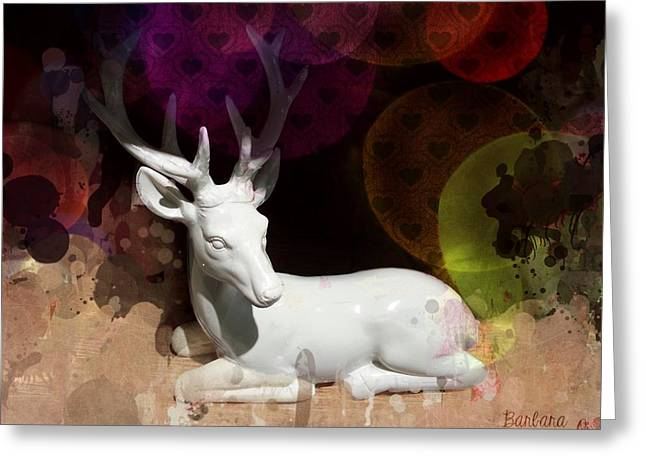 Natural Realm Greeting Cards - The White Deer Greeting Card by Barbara Orenya