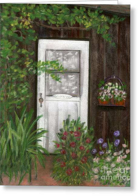 Garden Shed Pastels Greeting Cards - The White Door Greeting Card by Ginny Neece