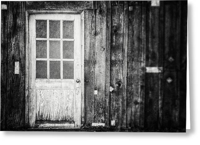 Barn Door Greeting Cards - The White Door in Black and White Greeting Card by Lisa Russo