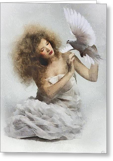 White Robe Greeting Cards - The white dove Greeting Card by Gun Legler