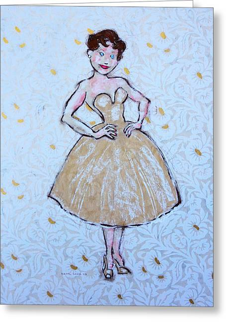 High Heeled Pastels Greeting Cards - The White Dress Greeting Card by Danyl Cook