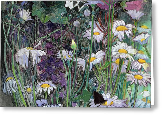 Forest Floor Paintings Greeting Cards - The White Garden Greeting Card by Claire Spencer