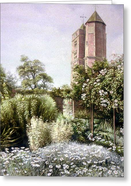 Historical Buildings Pastels Greeting Cards - The White Garden Greeting Card by Rosemary Colyer
