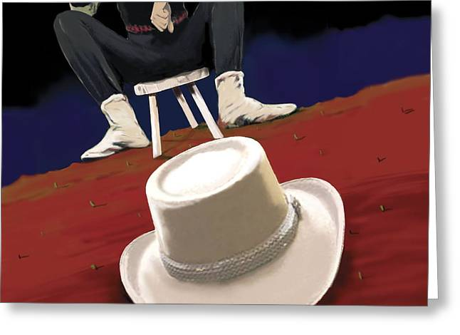 Foot Stool Greeting Cards - The White Hat, 2008 Greeting Card by Marjorie Weiss