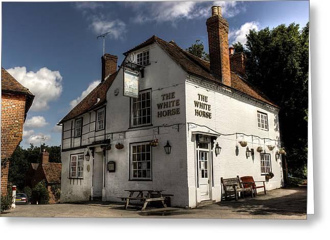 White Photographs Greeting Cards - The White Horse Greeting Card by Ian Hufton