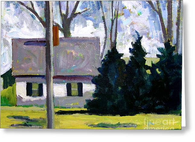 Rural Indiana Greeting Cards - The White House  and The Dark Green Pines Greeting Card by Charlie Spear