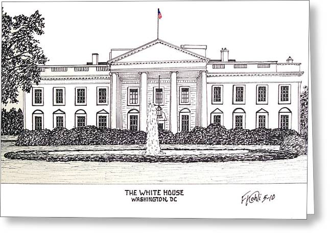 Best Sellers -  - Pen And Ink Drawing Greeting Cards - The White House Greeting Card by Frederic Kohli