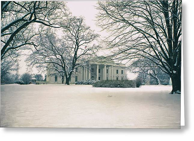 Historic Snowy Mansion Greeting Cards - The White House in Winter Greeting Card by Mountain Dreams
