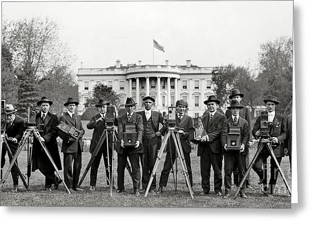 The Houses Photographs Greeting Cards - The White House Photographers Greeting Card by Jon Neidert