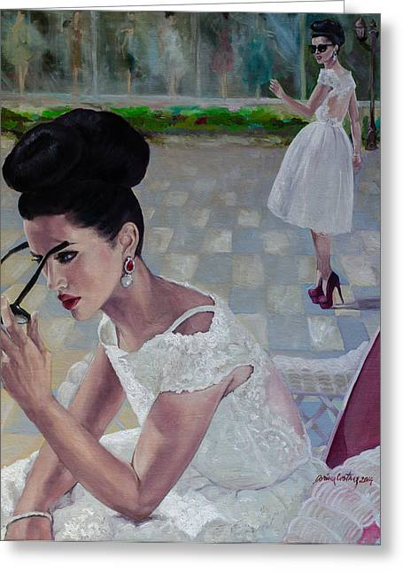 Love Laces Greeting Cards - The White Lace Dress Greeting Card by Dorina  Costras