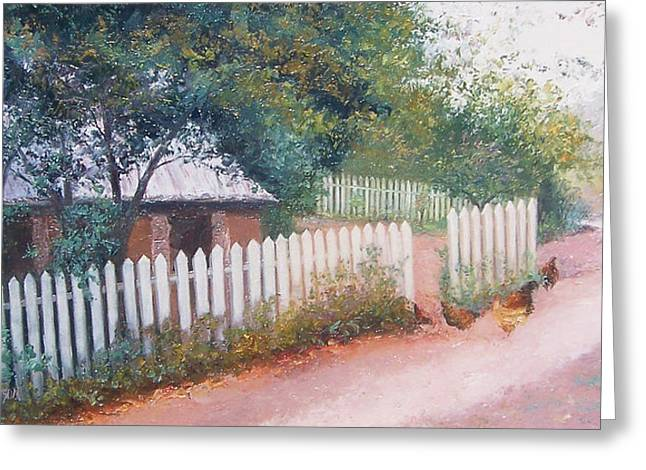 The White Picket Fence Greeting Card by Jan Matson