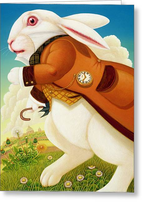 Watch Paintings Greeting Cards - The White Rabbit, 2003 Greeting Card by Frances Broomfield