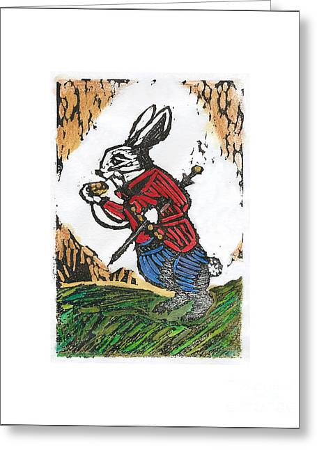 Rabbit Reliefs Greeting Cards - The White Rabbit Greeting Card by Barbara M Wilson