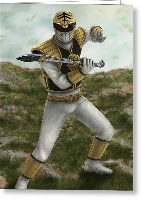 Morphing Digital Greeting Cards - The White Ranger Greeting Card by Michael Tiscareno