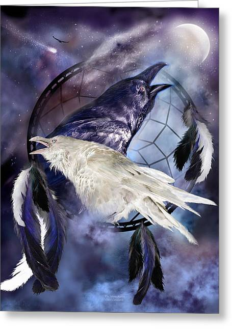 Art Of Carol Cavalaris Greeting Cards - The White Raven Greeting Card by Carol Cavalaris