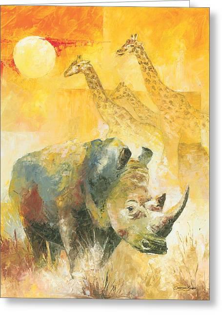 Christiaan Bekker Greeting Cards - The White Rhino Greeting Card by Christiaan Bekker