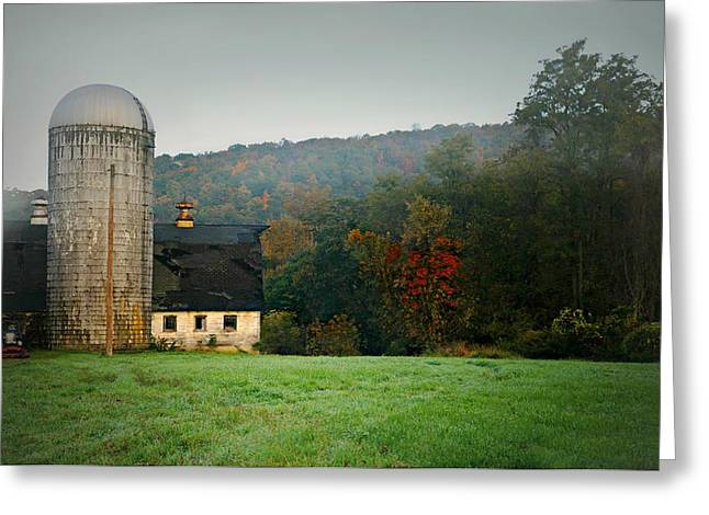 Barn And Silo Greeting Cards - The White Silo Greeting Card by Diana Angstadt